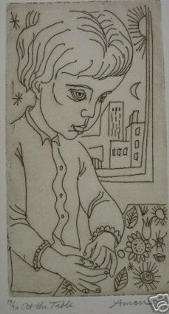 """At the Table"" 8.5"" x 4.5"" c1970 Edition of 90"