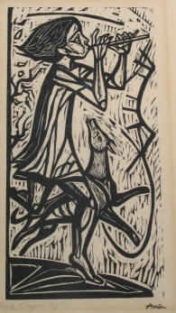 Flute Player & Dog #2, a monochrome woodcut by Irving Amen