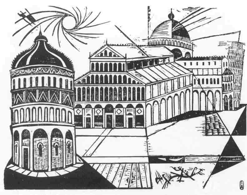 Pisa, a 1958 black &white woodcut by Irving Amen