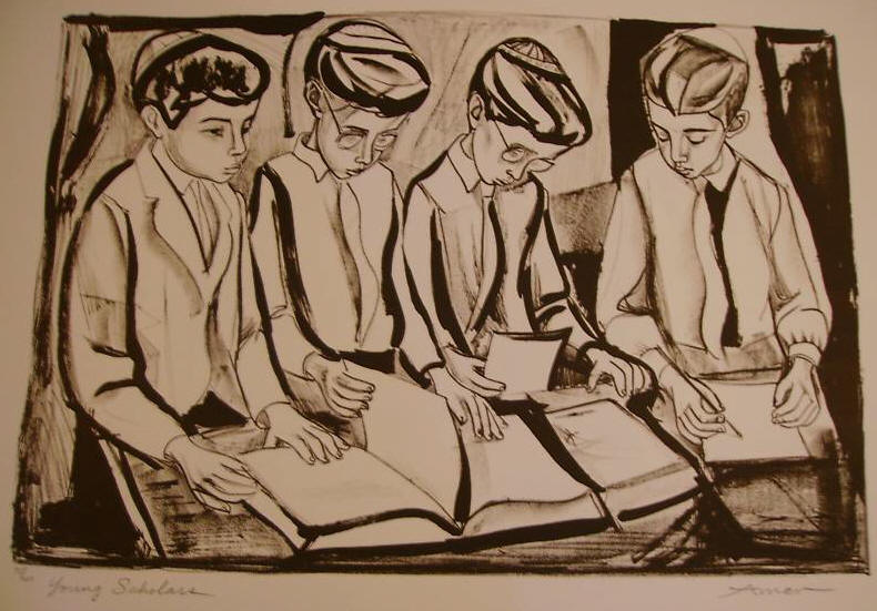 Young Scholors, a monochrome lithograph of 4 boys with book and pad in front of them by Irving Amen