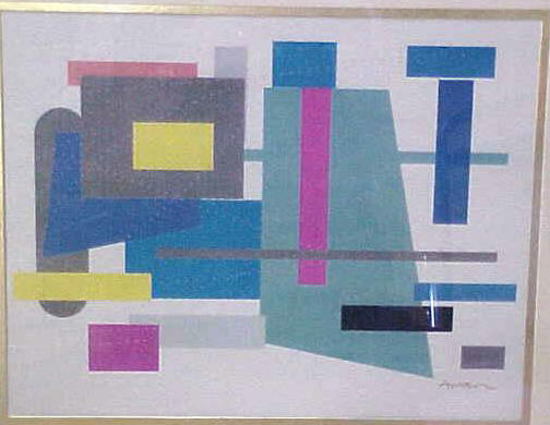 "Abstract Geometric Lithograph 10 1/2"" x 13 1/4"" eBay 8/06 bocaauction"