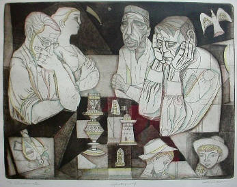 Click for more Irving Amen Etching with a Chess theme