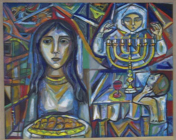 Sabbath with bread, menorah and old womran praying as a child watches