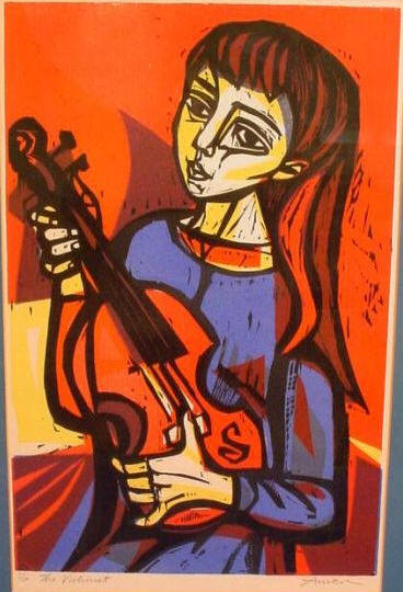 The Violinst, a woodcut by Irving Amen